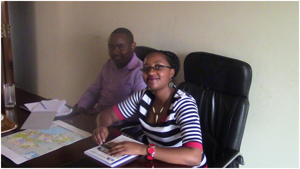 Ann (Researcher) and Dennis (Analyst) from Busara Centre at AfT offices in Ntinda discussing the scheduled qualitative research specifics. Initial focus shall be on the GAPP Program districts of Mityana and Mubende and new area of Western Uganda (Mbarara, Kisoro & Fort-Portal districts).